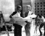 Н.Н. Чумакова на строительстве Областной клинической больницы в Канищево. Фотография 1981 года.